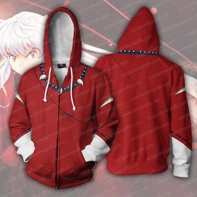 Anime Inuyasha 3D Printed Hoodie Zipper Coat Jacket Sweatshirt Cosplay Costume