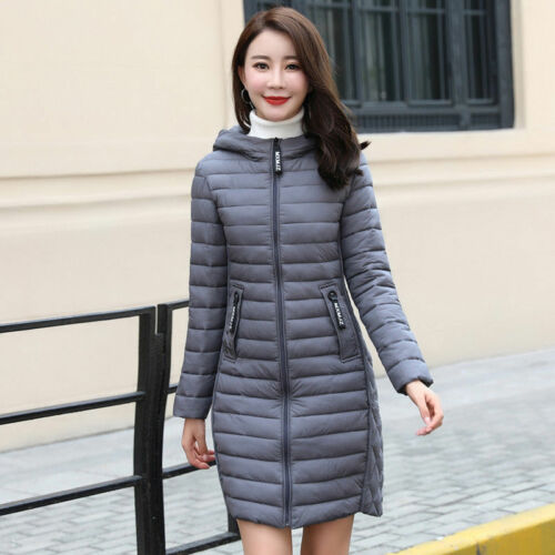 Winter Ladies Puffer Hooded Long Warm Padded Outwear Coats Down Cotton Jacket