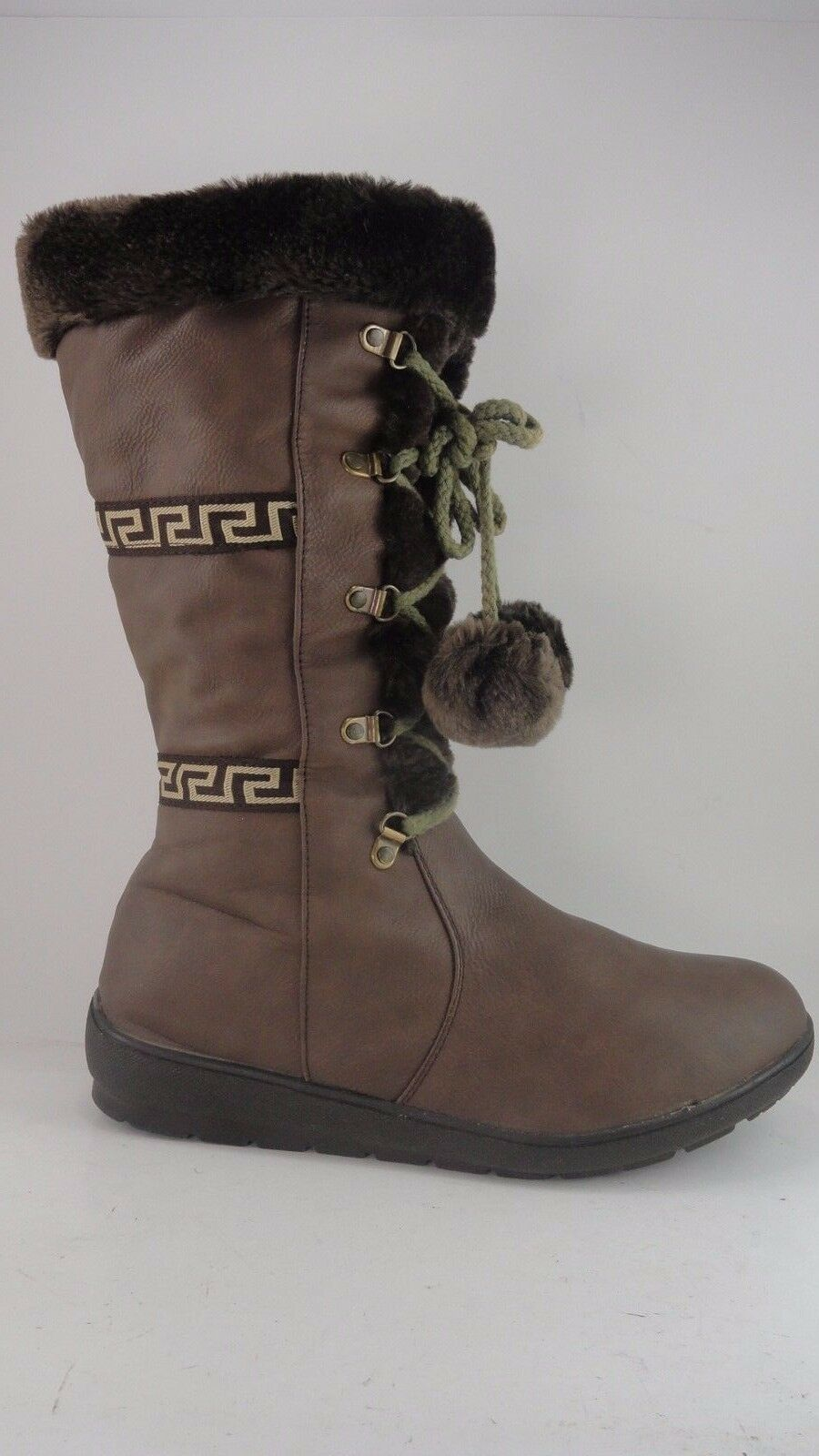 Reneeze Boots Brown Side zip Faux Fur Lining Pom Poms Size Womens US 10 EU 41
