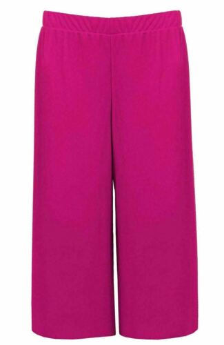 Ladies 3//4 Length Culottes Womens Relax Elasticated Waist Wide Leg Flared Shorts