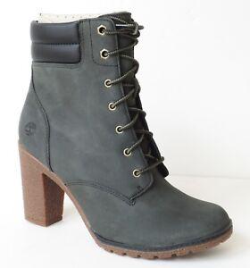 Timberland-Women-039-s-Tillston-High-Heel-Dark-Green-Gray-Leather-Boots-A1QJE