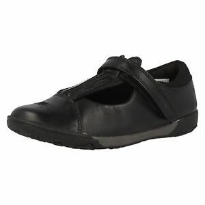 Clarks-039-Nibbles-Jig-039-Girls-Wide-G-Fit-Leather-Black-Bunny-Design-School-Shoes