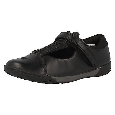 Clarks /'Nibbles Jig/' Girls Wide G Fit Leather Black Bunny Design School Shoes