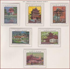 VIETNAM-du-NORD-N-610-615-Architecture-1968-North-Vietnam-521-526-Pagodas-MNH