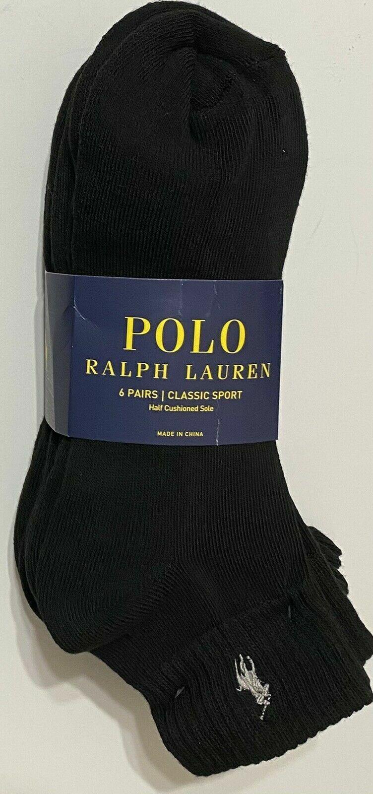 6 Pairs Pack Polo Ralph Lauren Black Gray Quarter Stretch Sport Socks Men 10-13