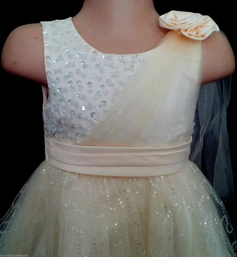 Cream Sparkly Christening Flower Girl Pageant Bridesmaid Party Dress Xmas 0-24m
