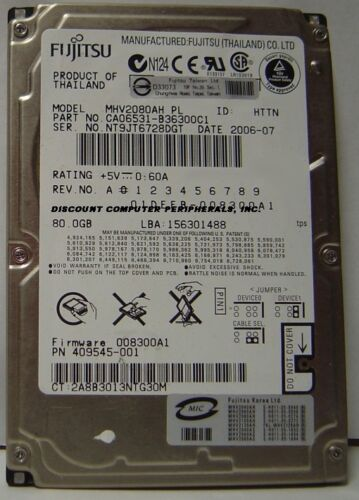 "MHV2080AH Fujitsu 80GB 2.5/"" IDE Drive Tested Good Free USA Ship Our Drives Work"