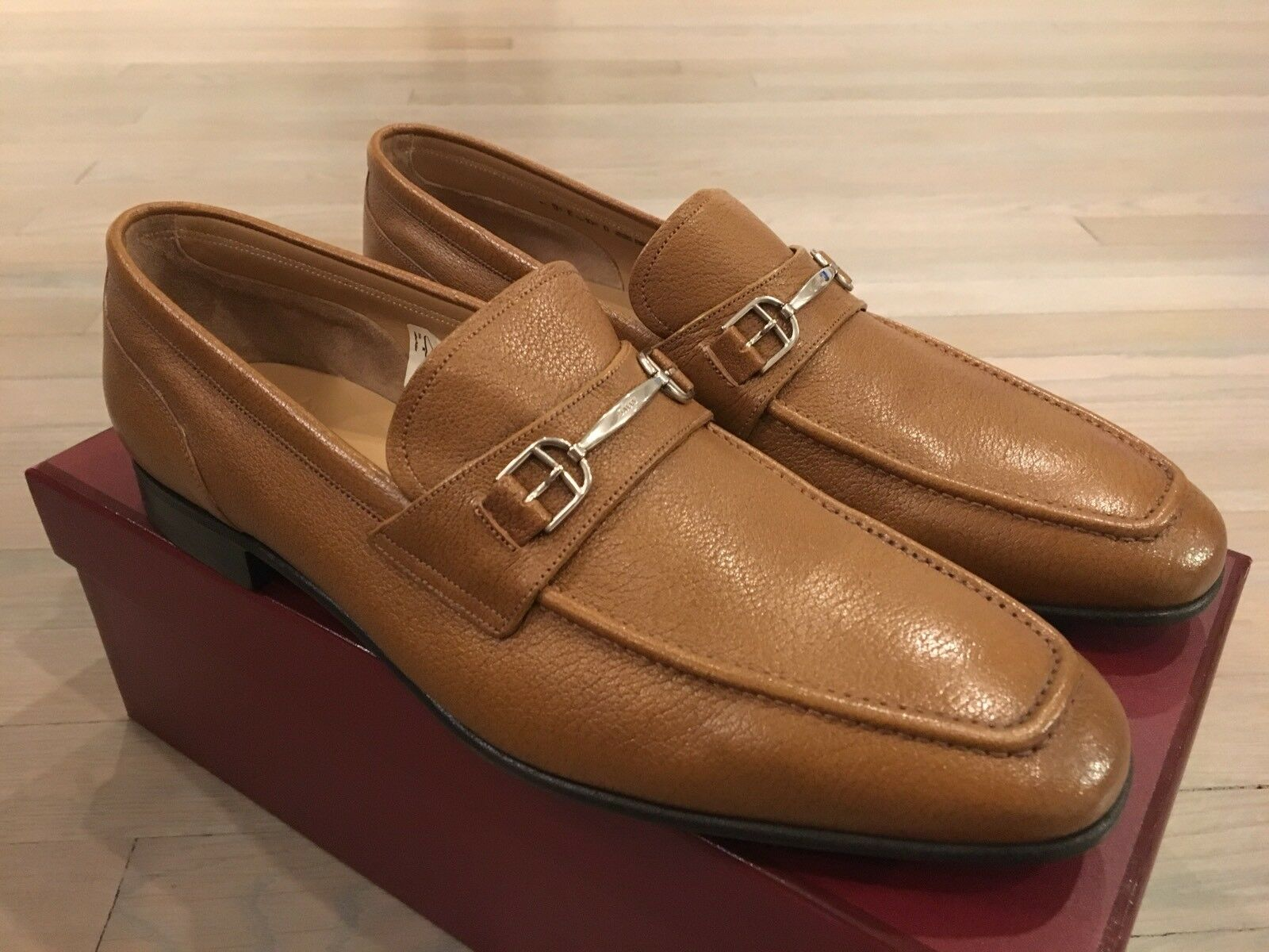 700  Bally Khaki Brian Pelle Loafers Taglia US 9.5 Made in Switzerland