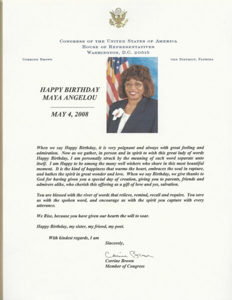 Maya Angelou Compleanno Greetings From Us Fl Congresswoman Corrine Marrone Senza Ritorno