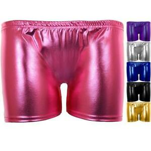 Damen Metallische Fitnessstudio Gymnastik Tanz Stretch Glänzend Hotpants Shorts Let Our Commodities Go To The World Clothing, Shoes & Accessories