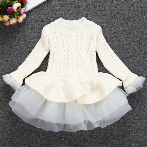 US Kids Filles Tricot Pull Pull Tops Crochet Fête De Noël Tutu Mini robe