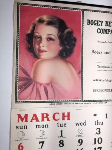 1938 Pretty Pin Up Girl Calendar Bogey Beer Wine Springfield Massachusetts