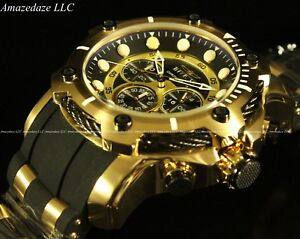 Invicta-Men-039-s-50mm-Bolt-Chronograph-Black-Dial-Gold-Plated-Stainless-Steel-Watch