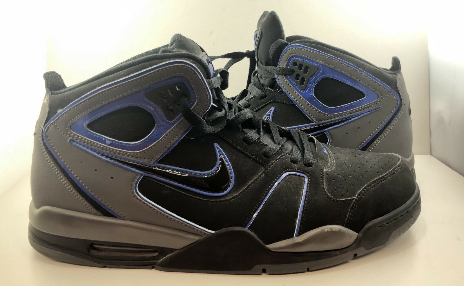 Nike Men's Air Flight Falcon Dark Grey/Black Royal Basketball Sz 14!