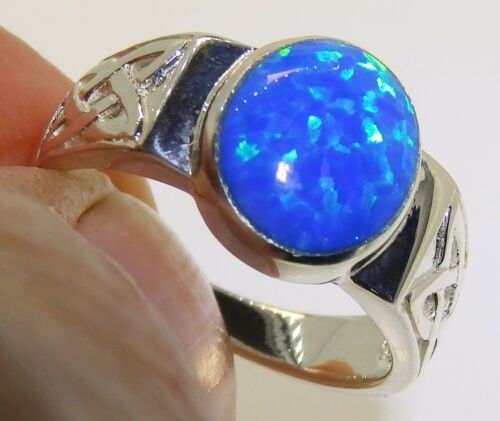 CELTIC KNOT STERLING SILVER 925 CABOCHON BLUE OPAL  LADIES RING SIZE O