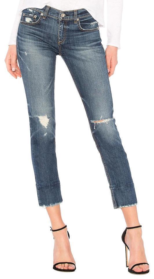 Nwt Rage & Knochen Dre Capri Distressed Jeans in Deville Größe 33