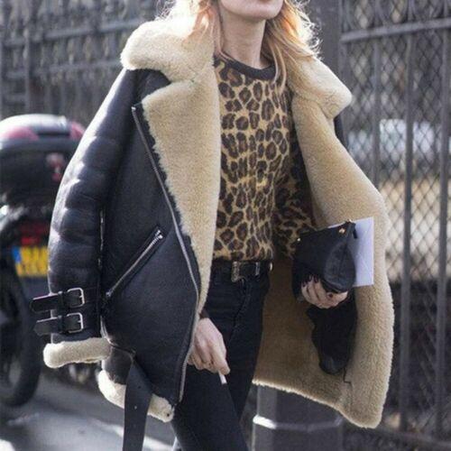 Women Winter Warm Faux Fur Fluffy Coat Long Jacket Parka Biker Outwear Overcoats