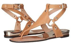 cf122f07e Vince Camuto ADALINA Harness Thong Ankle Strap Sandal Flat Beige 8.5 ...