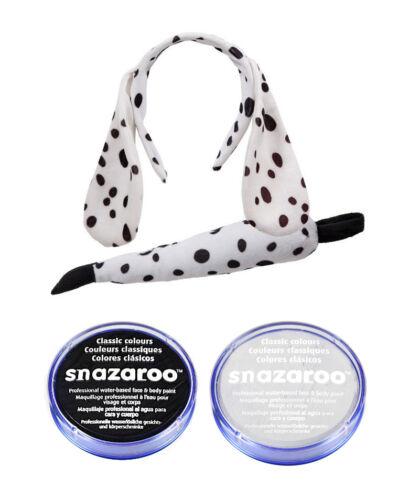 Fancy Dress Costume 101 Dog EARS TAIL /& BLACK//WHITE PAINT DALMATION SET