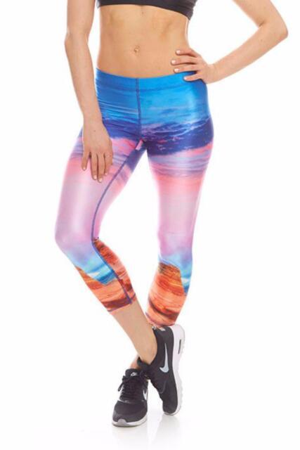 d49bbb99 NWT Zara Terez Utah Capri Yoga Pants Blue/Pink Multi Colored Women's  Leggings