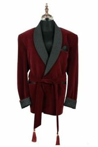 Mens Quilted Smoking Jacket Robe de Chambre Evening Dinner Host Wear Blazer Coat