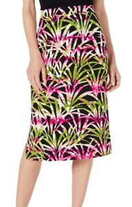 Kasper Womens Straight Pencil Skirt Black Pink Green Size XL Tropical $69 723