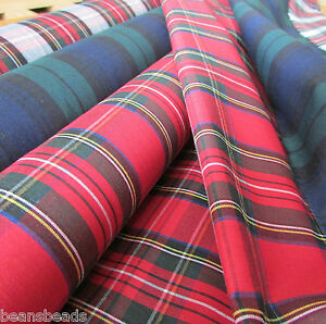 Tartan-poly-cotton-fabric-for-sewing-amp-craft-44-034-wide-per-half-m-colour-choice