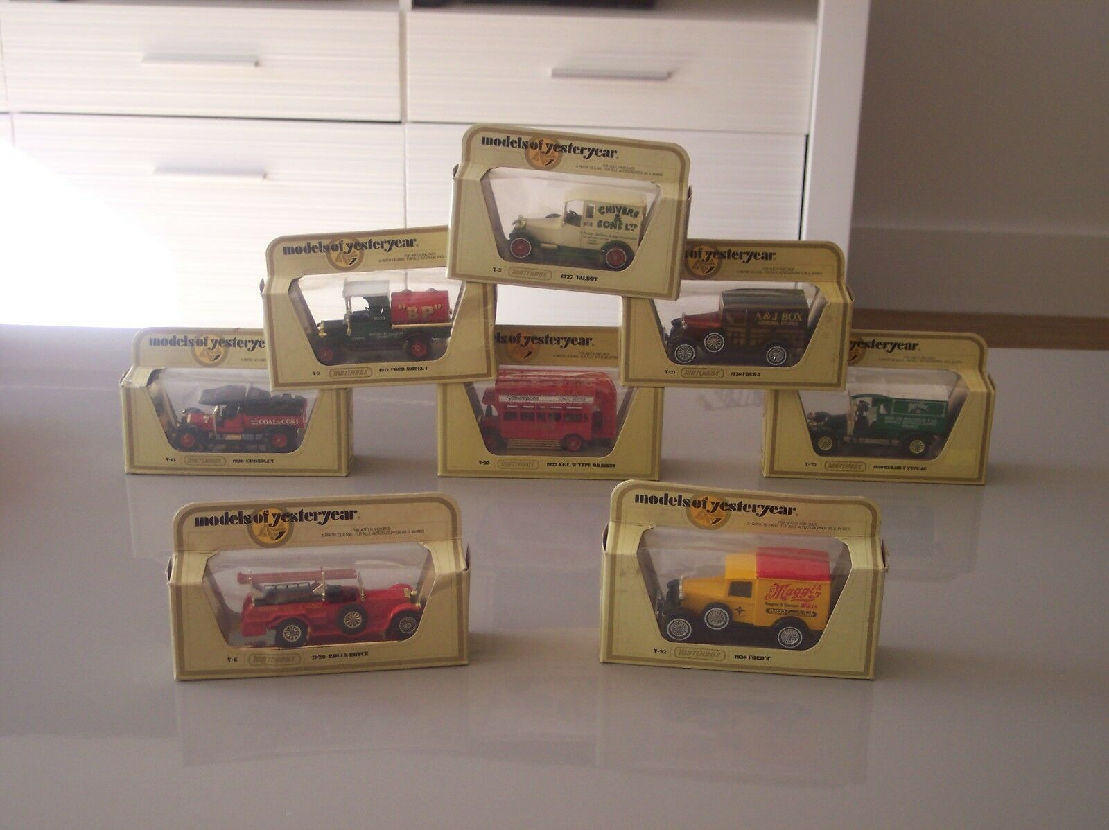 8 Matchbox Models of Yesteryear Y series with boxes