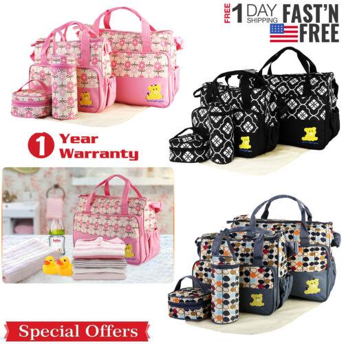 5 Pcs Baby Changing Diaper Nappy Bag Mummy Mother Handbag Multi-functional Set