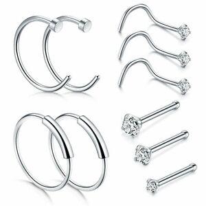 10PCS-22G-Surgical-Steel-Nose-Hoop-Rings-Nose-Screw-Bone-Studs-Piercing-Jewelry