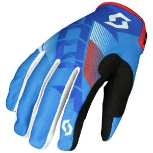 GUANTI-GLOVES-MOTO-ENDURO-CROSS-MX-SCOTT-350-DIRT-BLU-BIANCO-ROSSO-TG-L
