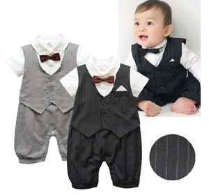 Boy-Baby-Kids-Toddler-Infant-Bowtie-Gentleman-Romper-Jumpsuit-Clothes-Outfit