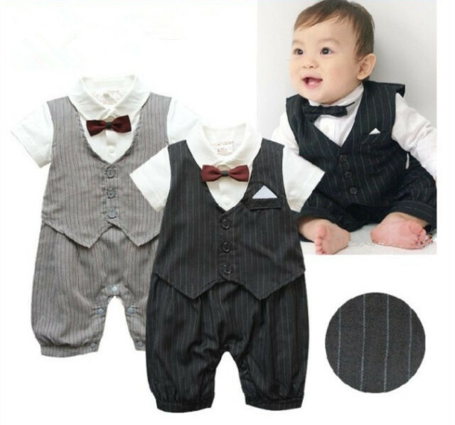 Boy Baby Kids Toddler Infant Bowtie Gentleman Romper Jumpsuit Clothes Outfit