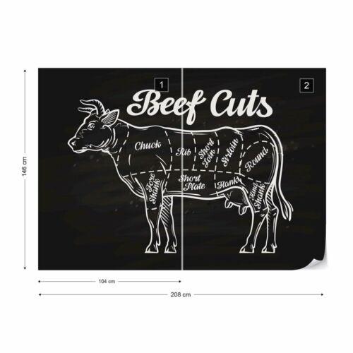 "Tapete Fototapete Vlies /""Retro Plakat /""/""Beef Cuts/""/""/"""