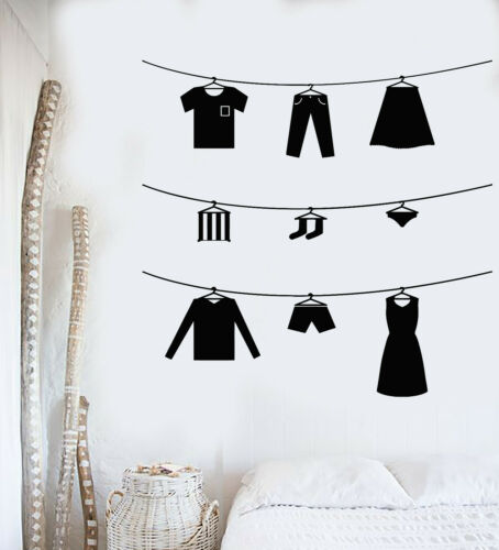 g1232 Vinyl Wall Decal Family Clothes Hanger Dress Laundry Room Stickers Mural
