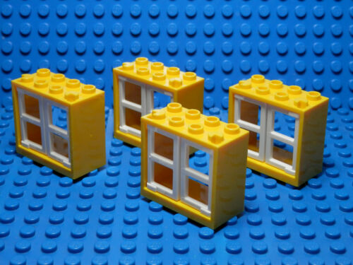 LEGOS Set of 4 NEW Yellow 2x4x3 Window Frames with 2 White 1x2x3 Panes STAR WARS