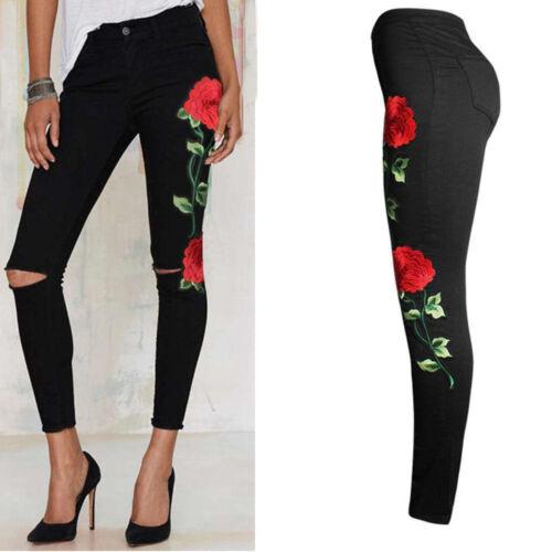 Damen Hosen Blumenmuster bestickt Denim gerippt Hose Jeans Stretch Stift Hosen