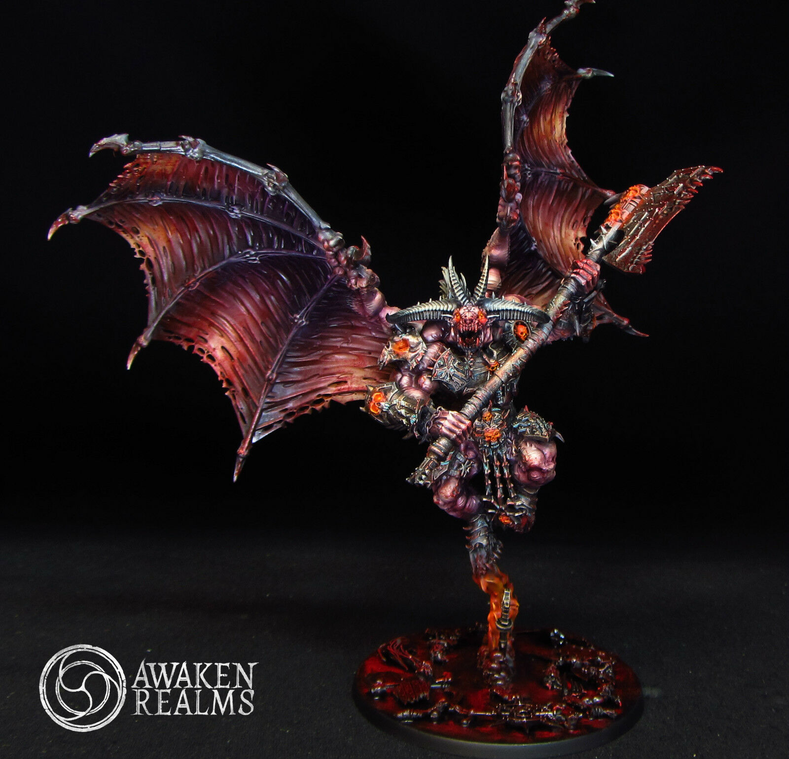 Painted Warhammer Bloodthirster  de Khorne (Commission)  garanti