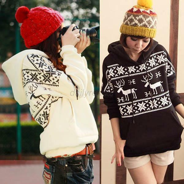 Women Girl Deer Print Autumn Winter Fleece Coat Jacket Hooded Sweatshirt Outwear