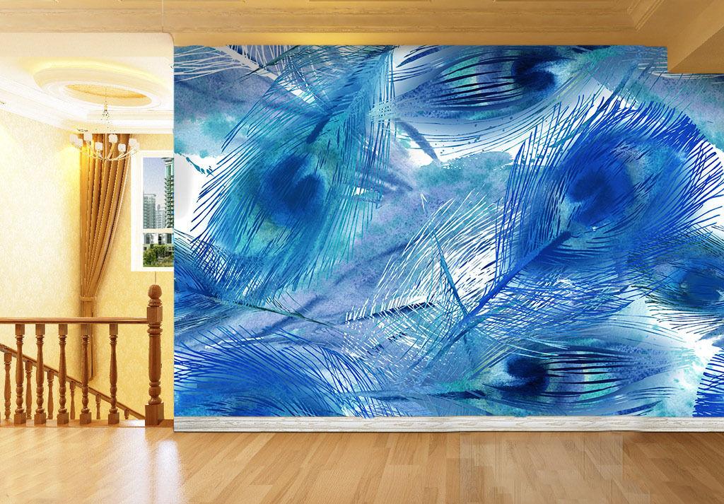 3D Der Blaue PFAU 082 Fototapeten Wandbild Fototapete BildTapete Familie