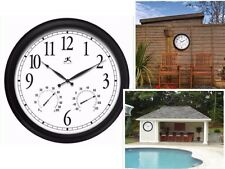 Atomic Wall Clock Large 24 Inch Indoor Outdoor Thermometer Humidity Pool Patio