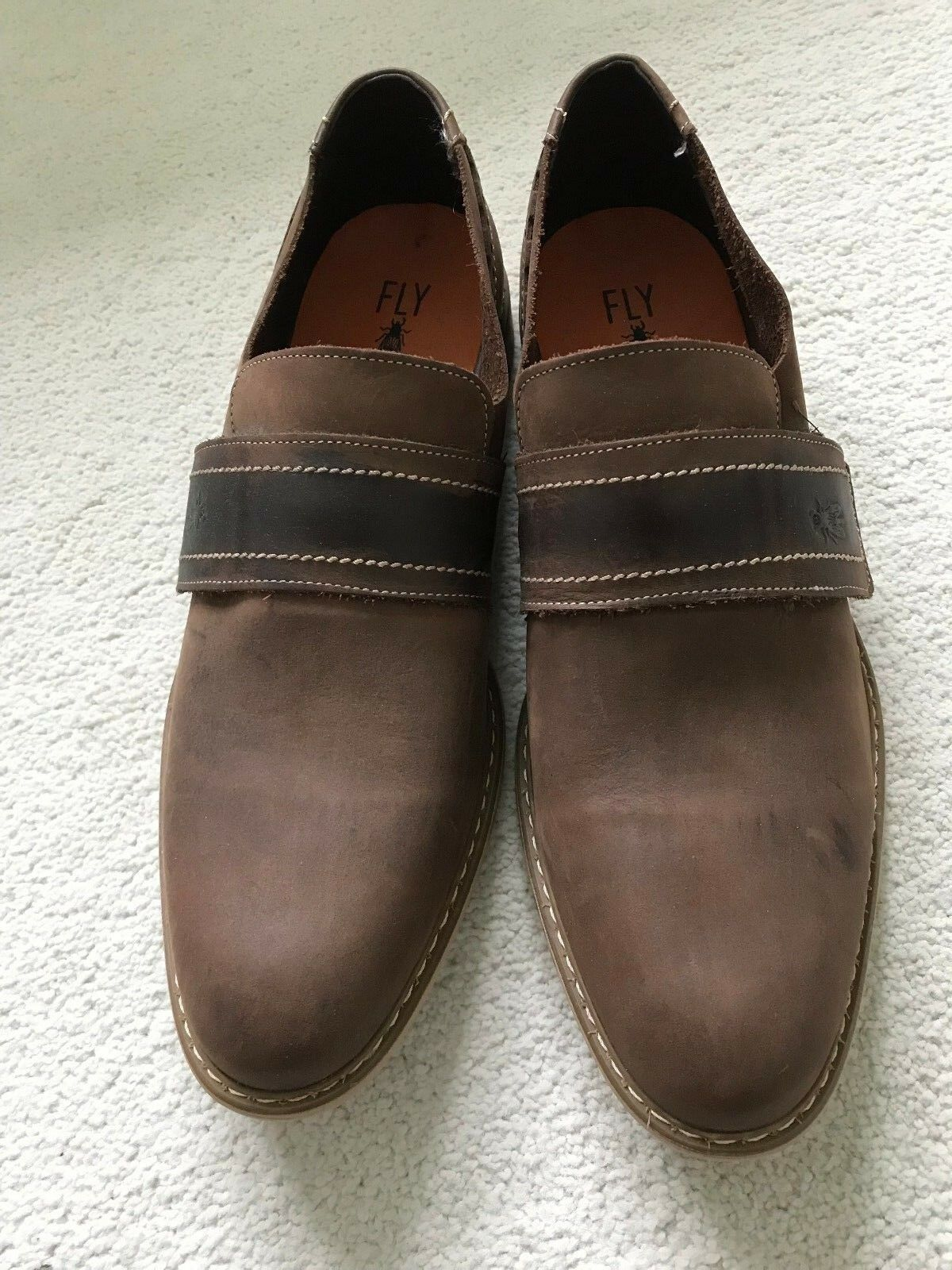 FLY London Men Loafer in Dark Brown with Square Toe  - size 10.5   45