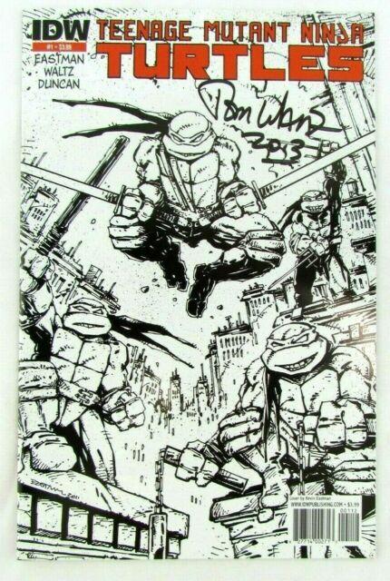 Teenage Mutant Ninja Turtles #1 2nd Print Variant 2011 IDW Comic Book Signed