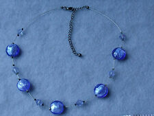 Adjustable Wire Necklace with Round Blue Plastic Beads