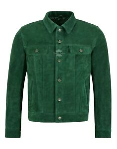 Men-039-s-Trucker-Real-Leather-Jacket-Green-Suede-Casual-Fashion-Biker-Style-1280