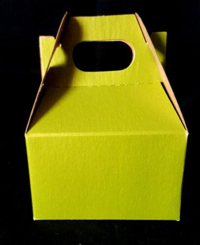 "4"" x 2-1//2"" x 2-1//2""  Small gift box green gift wrap NEW 10 Mini Gable Box"
