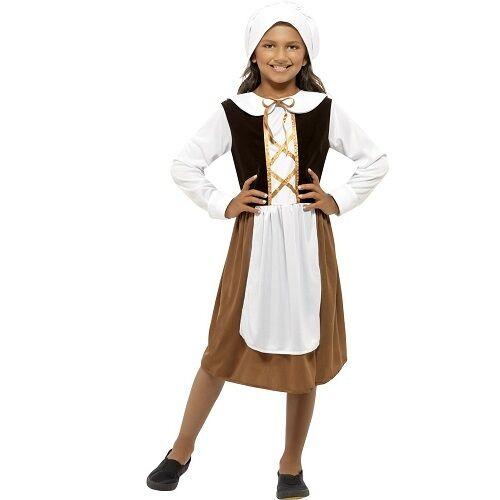 Per Bambini Ragazze Costume Tudor Girl Costume Libro Day Childs Outfit Da Smiffys