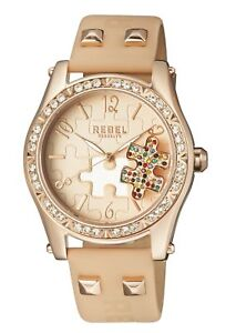 Rebel-Women-039-s-RB111-8151-Gravesend-Crystals-Puzzel-Piece-Dial-Tan-Leather-Watch