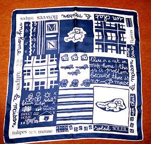 Froehliches-Tuch-58x58-cm-elegant-in-Ecru-Blau-viele-Aufschriften-f-Katzenfreunde