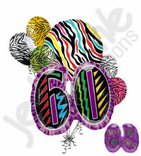 7 pc Still Wild at 60 Happy Birthday Colorful Zebra Print Balloon Bouquet 60th